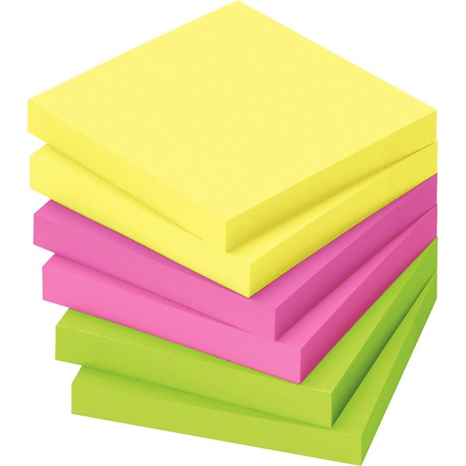 Lot de 12 blocs de notes repositionnables de 80 feuilles 75 x 75 mm couleurs vives assorties